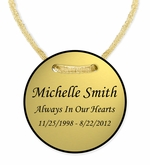 Gold Finish Cremation Urn Medallion - Personalization Included