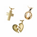 Gold Plated Memorial and Cremation Jewelry