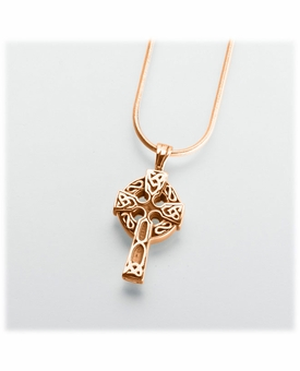 Gold Vermeil Celtic Cross Cremation Jewelry Pendant