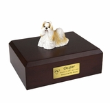 Gold White Shih Tzu Dog Figurine Pet Cremation Urn - 1917