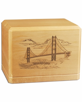 Golden Gate Bridge Classic Maple Wood Cremation Urn