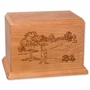 Golfer Cherry Wood Newport Laser Carved Cremation Urn