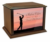 Golfer Eternal Reflections Wood Cremation Urn - 4 Sizes