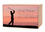Golfer Eternal Reflections Wood Cremation Urn - 5 Urn Choices