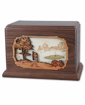 Golfer with 3D Inlay Walnut Wood Cremation Urn