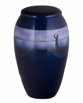 Golfers Silhouette Hand Painted Cremation Urn