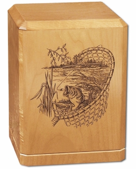 Gone Fishin Classic Maple Wood Cremation Urn