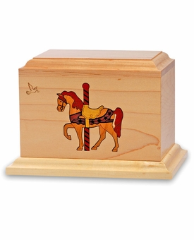 Grand Carousel - Wood Infant Cremation Urn - Engravable