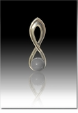 Gray Harmony Cremains Encased in Glass Sterling Silver Cremation Jewelry Pendant