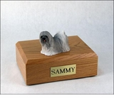 Gray Lhasa Apso Dog Figurine Pet Cremation Urn - 767