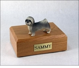 Gray Lhasa Apso Dog Figurine Pet Cremation Urn - 771