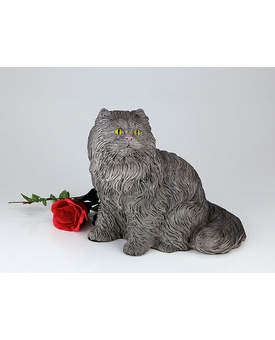Gray Longhair Cat Hollow Figurine Pet Cremation Urn - 2707