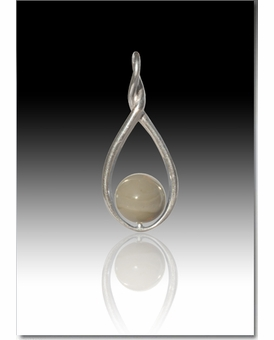 Gray Melody Twist Cremains Encased in Glass Sterling Silver Cremation Jewelry Pendant