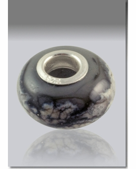 Gray Perfect Memory Bead Cremains Encased in Glass Cremation Jewelry