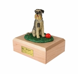 Gray Schnauzer Dog Figurine Pet Cremation Urn - 1671
