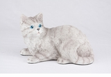 Gray Striped Tabby Shorthair Cat Hollow Figurine Pet Cremation Urn - 2702