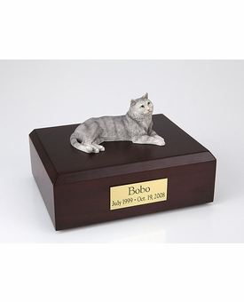 Gray Tabby Cat Figurine Pet Cremation Urn - 315