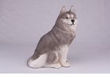 Gray White Siberian Huskey Hollow Figurine Pet Cremation Urn - 2785