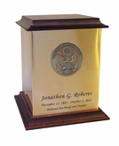Great Seal of America Sheet Bronze With Walnut Trim Snap-Top Cremation Urn