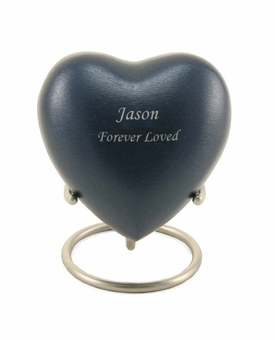 Grecian Blue Heart Keepsake Cremation Urn - Engravable