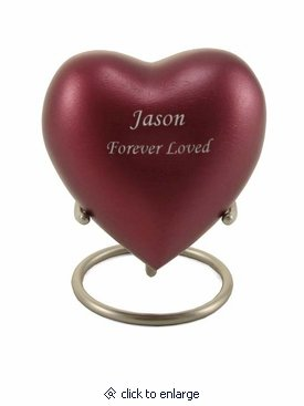 Grecian Magenta Heart Keepsake Cremation Urn - Engravable