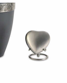 Grecian Rustic Pewter Heart Brass Keepsake Cremation Urn - Engravable
