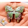 Green and Pink Jeweled Butterfly Keepsake Cremation Urn
