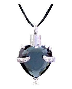 Green Cradled Heart Stainless Steel Cremation Jewelry Pendant Necklace