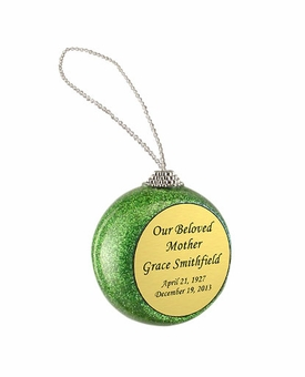 Green Glitter Memorial Holiday Tree Ornament