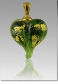 Green Gold Precious Metal Heart Cremains Encased in Glass Cremation Jewelry Pendant