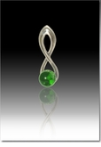 Green Harmony Cremains Encased in Glass Sterling Silver Cremation Jewelry Pendant