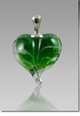 Green Heart Cremains Encased in Glass Cremation Jewelry Pendant