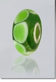 Green Lasting Memory Bead Cremains Encased in Glass Cremation Jewelry