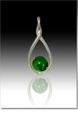 Green Melody Twist Cremains Encased in Glass Sterling Silver Cremation Jewelry Pendant