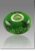 Green Perfect Memory Bead Cremains Encased in Glass Cremation Jewelry