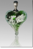 Green Silver Precious Metal Heart Cremains Encased in Glass Cremation Jewelry Pendant