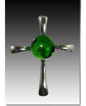 Green Symphony Cross Cremains Encased in Glass Sterling Silver Cremation Jewelry Pendant