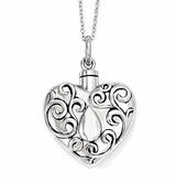 Grieving Heart Sterling Silver Cremation Jewelry Necklace
