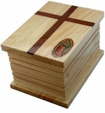 Guadalupe Cross Cremation Urn in Radiata, Oak or Mahogany Wood