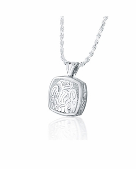 Haida Eagle Cushion Sterling Silver Cremation Jewelry Pendant Necklace