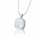 Haida Wolf Cushion Sterling Silver Cremation Jewelry Pendant Necklace