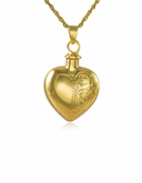 Half-Etched Heart Gold Vermeil Cremation Jewelry Pendant Necklace