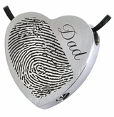 Half Print Heart Slider Stainless Steel Memorial Cremation Pendant Necklace