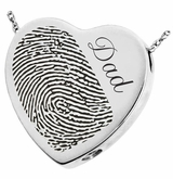Half Print Heart Slider Sterling Silver Memorial Cremation Pendant Necklace