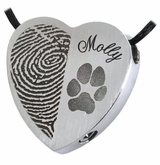 Half Print Pawprint and Name Heart Slider Stainless Steel Memorial Pet Cremation Jewelry Pendant Necklace