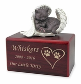 Hamilton Collection Dark Brown Cat Figurine Cherry Wood MDF Cremation Urn