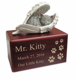Hamilton Collection Gray Cat Figurine Cherry Wood MDF Cremation Urn