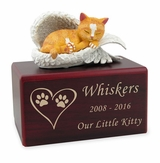 Hamilton Collection Orange Cat Figurine Cherry Wood MDF Cremation Urn