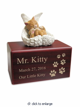 Hamilton Collection Tan Cat Figurine Cherry Wood MDF Cremation Urn