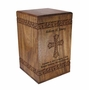 Hand-Carved Cross Solid Rosewood Wood Cremation Urn
